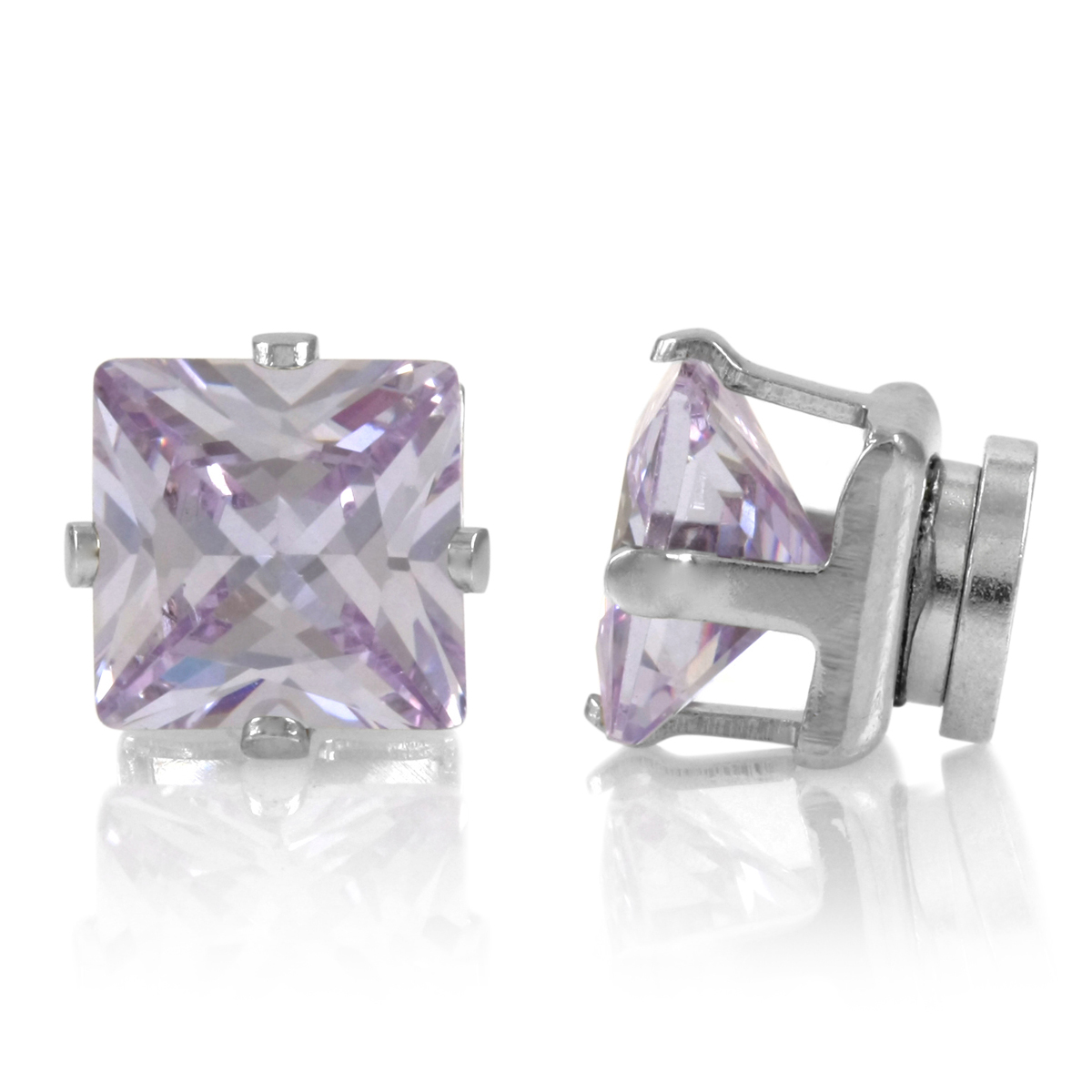 Brinkley's Square Cut Cz Non Pierced Magnetic Earrings  6mm Lavender