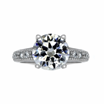 Plus Size Diva 4 Carat Round Cut CZ Engagement Ring with Pave Band