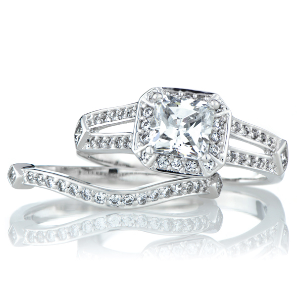 cadences princess cut cz wedding ring set roll off image to close zoom window - Cz Wedding Rings