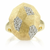 Cai's Goldtone Geometric Ring - Oval