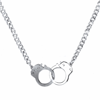 Silvertone Handcuff Necklace - Top Rated Handcuff Jewelry - 22 inches