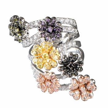 Calico's Multi-Color 6 Flower CZ Cocktail Ring