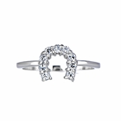 Silver Horseshoe CZ Charm Ring