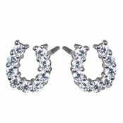 Silver CZ Horseshoe Stud Earrings