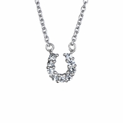 Silver Horseshoe CZ Necklace - Small