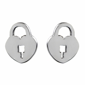 Capricia's Silvertone Heart Lock Stud Earrings