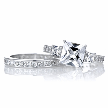 Cara's Engagement Ring Set - 2.5 Carat Princess Cut CZ
