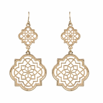 Caressa's Gold Filigree Cutout Dangle Earrings