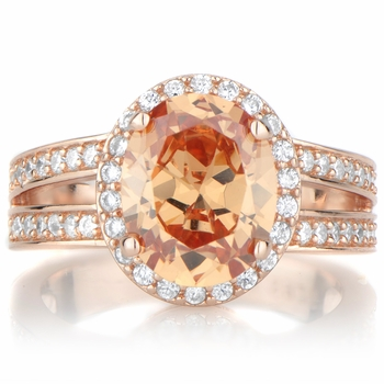 Carly's 2.5ct Rose Goldtone and Oval Champagne CZ Engagement Ring