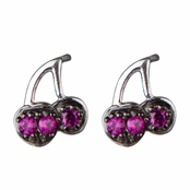 Carrie's Cherry Stud Earrings - Silvertone