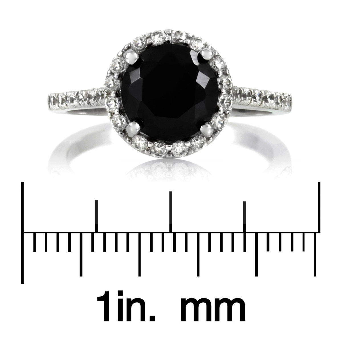 Carrie's Round Cut Black Cz Ring With Halo