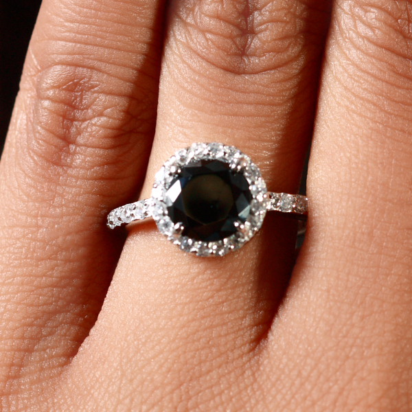 Round cut Black CZ Ring with Halo