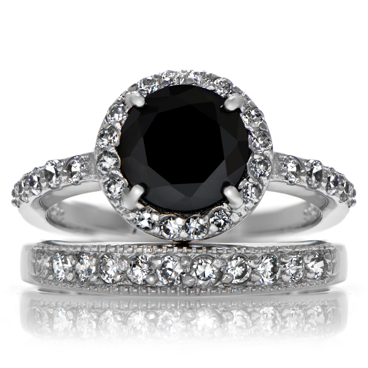 carries black cz ring set roll off image to close zoom window - Black Diamond Wedding Ring Set