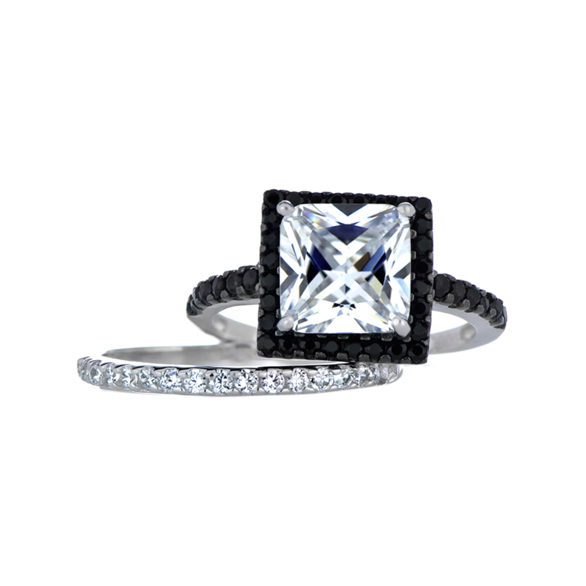 cassias princess cut black and white cz wedding ring set - Black Wedding Rings Sets