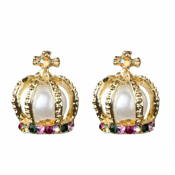 Catalina's Imitation Pearl Princess Crown Stud Earrings