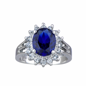 Catherine's Fancy CZ Right Hand Ring - Blue CZ