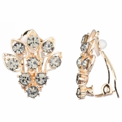 Catriona's Grey Rhinestone Cluster Clip On Earrings