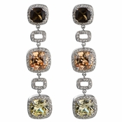 Cecelia's Tri Color Cushion Cut Drop Earrings