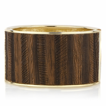 Cecily's Goldtone Faux Wood Bangle Bracelet
