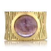 Ceil's Purple CZ Etched Wide Band Fashion Ring