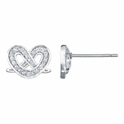 Ceil's Twisted Heart Stud CZ Earrings