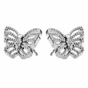 Mimi's Silvertone and CZ Pave Butterfly Stud Earrings