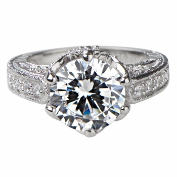 Hope's 2.5ct Round Cut CZ Crown Set Silvertone Engagement Ring