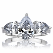 Pear Cut 3.5 TCW Three stone Silvertone Engagement Ring