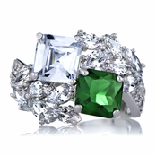 Presidential Wedding Ring - Green CZ