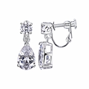 O's 7.5 TCW Cubic Zirconia Pear Drop Screwback Earrings