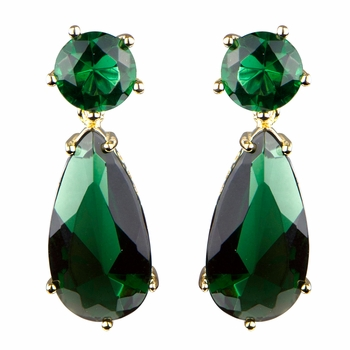 Vintage Dark Green CZ Pear Drop Gold Tone Earrings - 1.2 inches long