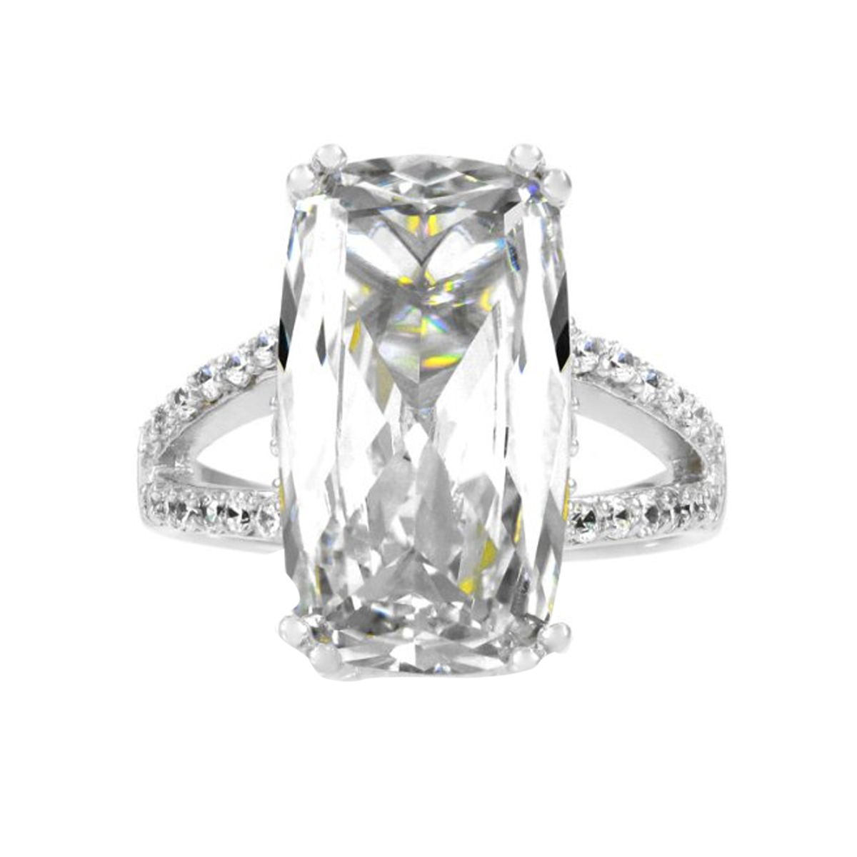 bee s 6 ct emerald cut cz split band wedding ring