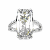 Bee's 6 ct Emerald Cut CZ Split Band Wedding Ring