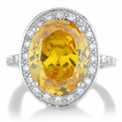 Juicy 8.5 ct Canary CZ Oval Cut Engagement Ring with Halo