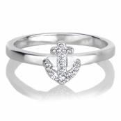 Celina's Petite Anchor Charm Stackable Ring