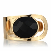 Celine's Goldtone Cuff Bracelet with Black Stone