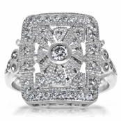 Chantilly's Art Deco CZ Right Hand Ring