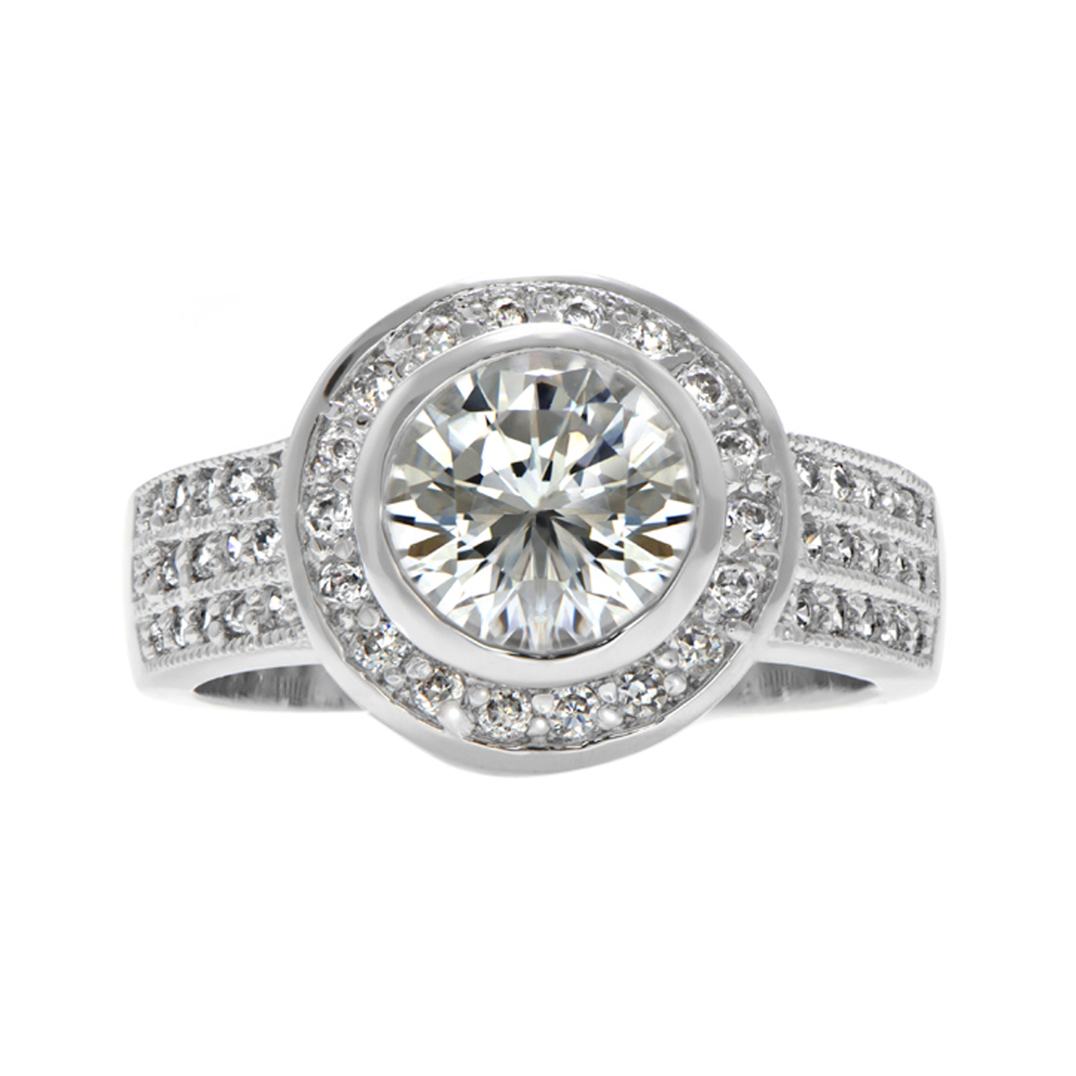 chara s 3 5 carat bezel set cz wedding ring