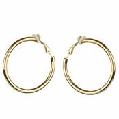 Charline's Clip-On Goldtone Hoop earrings - 35mm