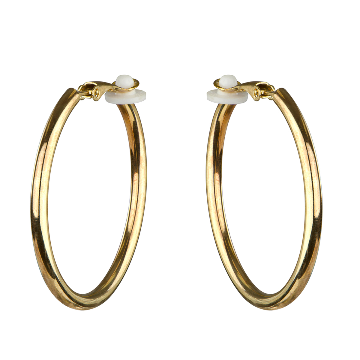 Charline's Clipon Goldtone Hoop Earrings  35mm