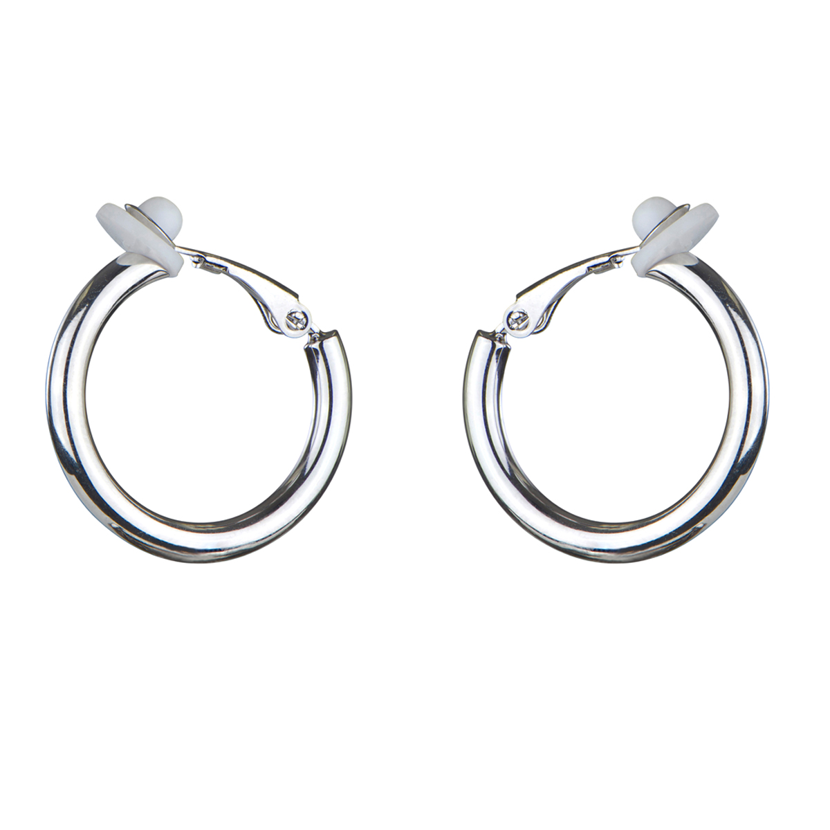 charline s clip on silvertone hoop earrings 20mm