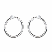 Charline's Clip-On Silvertone Hoop earrings - 30mm