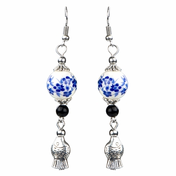 Cherry's Faux Chinese Porcelain Fish Charm Earrings