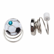 Children's Jewelry: Non Pierced Twist Stud Earrings - Crystal Soccer Ball