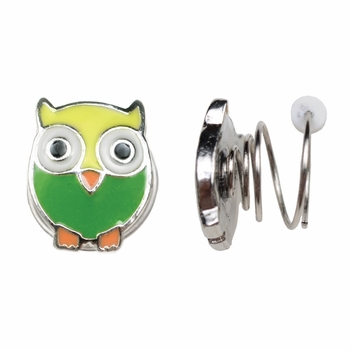 Children's Jewelry: Non Pierced Twist Stud Earrings - Owl