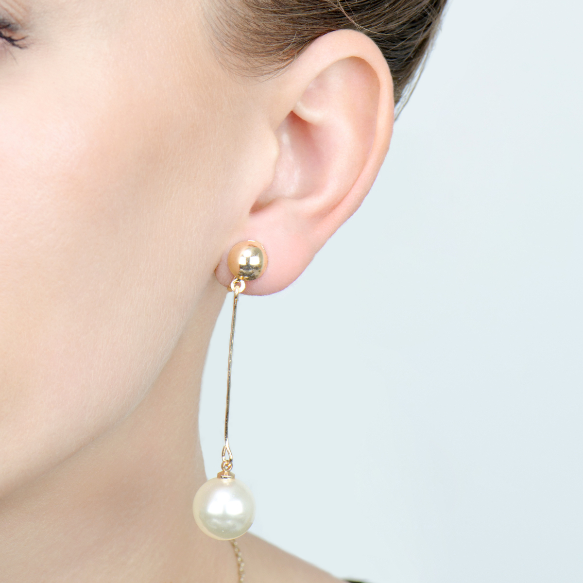 Goldtone And Imitation Pearl Drop Clip On Earrings