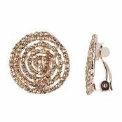 Cordelia's Champagne CZ and Goldtone Spiral Clip On Earrings