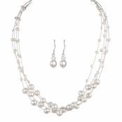 Cormia's Floating Freshwater Cultured Pearl Necklace & Earring Set - 18 inches