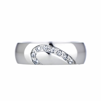 Couples' Heart Wedding Ring Band - Cubic Zirconia