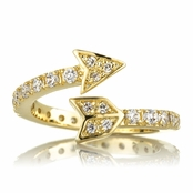Cupid's Goldtone Wrapped CZ Arrow Ring